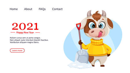 Greeting card with funny bull. Cute bull cartoon character in sweater, the symbol of Chinese New Year 2021. Usable for landing page, website etc. Vector illustration