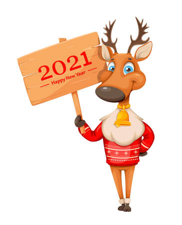 Merry Christmas and Happy New Year greeting card. Cute deer cartoon character in warm sweater holding wooden sign with greetings. Vector illustration