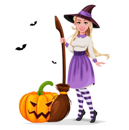 Happy Halloween. Beautiful witch cartoon character holding broomstick and standing near pumpkin. Vector illustration on white background Stock Illustratie
