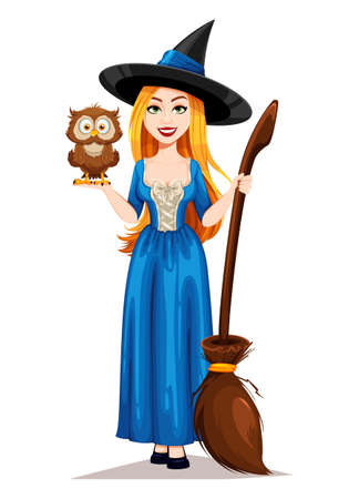 Happy Halloween. Beautiful witch cartoon character holding broomstick and cute owl. Vector illustration on white background