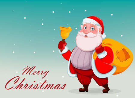 Merry Christmas and Happy New Year greeting card. Cheerful Santa Claus holding hand bell and sack with presents. Vector illustration on light background Stock Illustratie