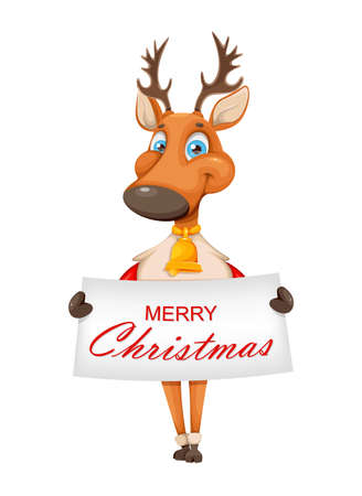 Merry Christmas and Happy New Year greeting card. Cute deer cartoon character in warm sweater holding placard with greetings. Vector illustration Stock Illustratie