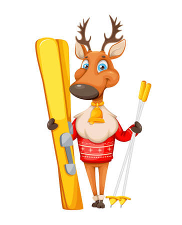 Merry Christmas and Happy New Year. Cute deer cartoon character in warm sweater holding skis. Vector illustration on white background