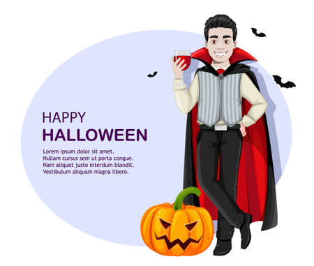 Happy Halloween greeting card. Cheerful vampire cartoon character with a glass of blood. Vector illustration Stock Illustratie