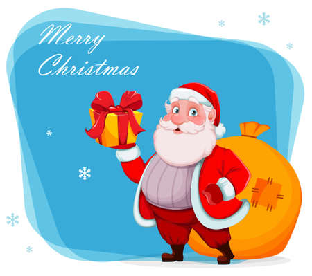 Merry Christmas and Happy New Year greeting card. Cheerful Santa Claus holding gift box and sack with presents. Vector illustration
