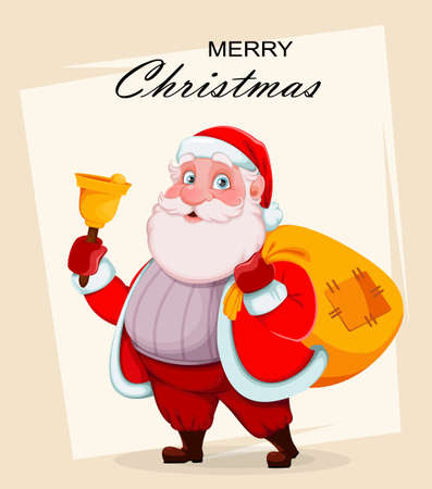 Merry Christmas and Happy New Year greeting card. Cheerful Santa Claus holding hand bell and sack with presents. Vector illustration