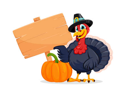 Happy Thanksgiving Day. Funny Thanksgiving Turkey bird cartoon character standing near pumpkin and wooden sign. Vector illustration on white background Stock Illustratie