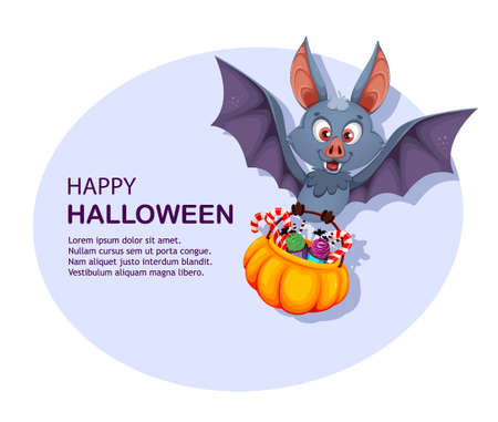 Happy Halloween greeting card. Funny bat cartoon character carrying basket with candies. Vector illustration