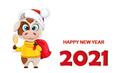 Happy New Year greeting card with funny bull. Cute bull cartoon character in sweater, the symbol of Chinese New Year 2021. Vector illustration