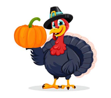 Happy Thanksgiving Day. Funny Thanksgiving Turkey bird cartoon character holding pumpkin. Vector illustration on white background