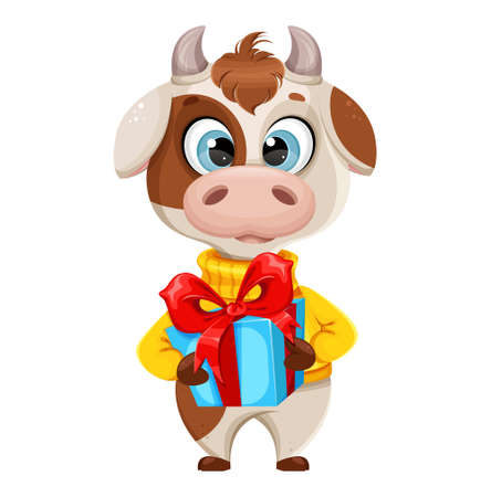 Funny bull holding gift box. Cute bull cartoon character in sweater, the symbol of Chinese New Year 2021. Usable for Christmas. Vector illustration Stock Illustratie