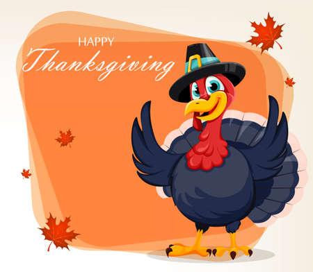 Thanksgiving Day greeting card. Funny Thanksgiving Turkey bird cartoon character. Vector illustration Stock Illustratie
