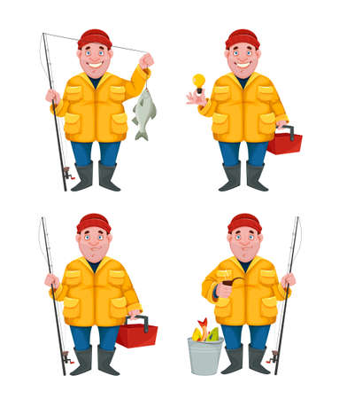 Fisherman, funny cartoon character, set of four poses. Vector illustration isolated on white background Stock Illustratie