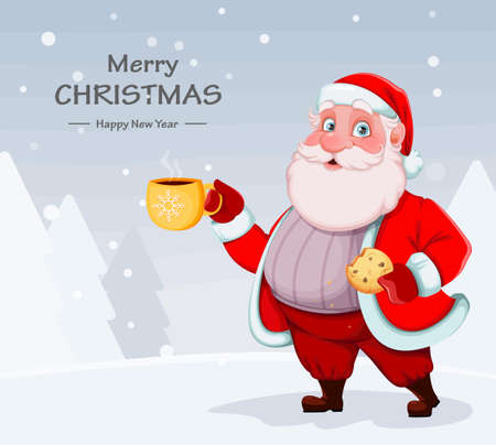 Merry Christmas and Happy New Year greeting card. Cheerful Santa Claus having a coffee break. Vector illustration on winter background