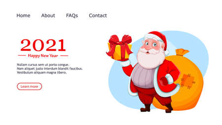 Merry Christmas and Happy New Year. Cheerful Santa Claus holding gift box. Vector illustration, usable for website, landing page etc.