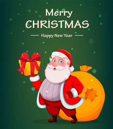 Merry Christmas and Happy New Year greeting card. Cheerful Santa Claus holding gift box. Vector illustration Stock Illustratie