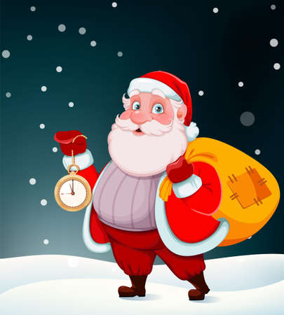 Merry Christmas and Happy New Year. Cheerful Santa Claus holding clock and sack with presents. Vector illustration