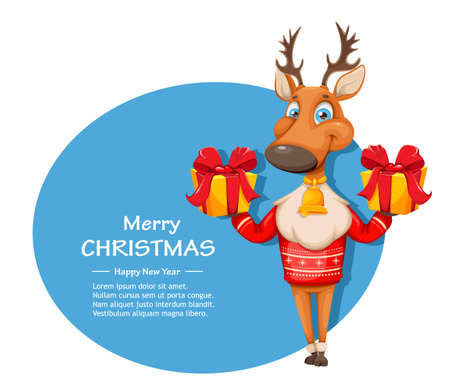 Merry Christmas and Happy New Year greeting card. Cute deer cartoon character in warm sweater holding two gift boxes. Vector illustration Stock Illustratie
