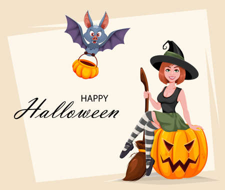 Happy Halloween greeting card. Beautiful witch cartoon character sitting on pumpkin and funny bat with basket. Vector illustration Stock Illustratie