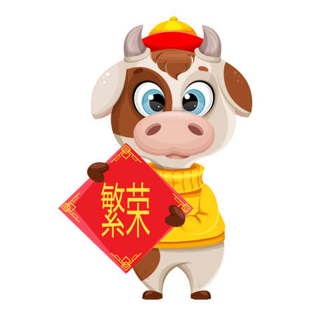 Funny bull holding placard with lettering. Cute bull cartoon character in sweater, the symbol of Chinese New Year 2021. Lettering translates as Prosperity. Vector illustration