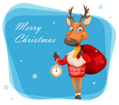 Merry Christmas and Happy New Year greeting card. Cute deer cartoon character in warm sweater holding clock. Vector illustration Stock Illustratie