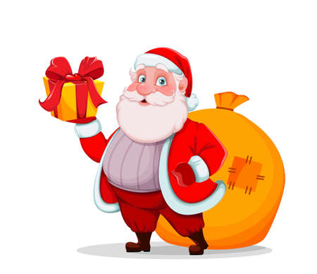 Merry Christmas and Happy New Year. Cheerful Santa Claus holding gift box. Vector illustration isolated on white background
