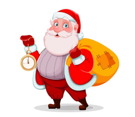 Merry Christmas and Happy New Year. Cheerful Santa Claus holding clock and sack with presents. Vector illustration isolated on white background Stock Illustratie