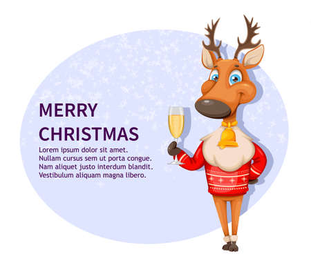 Merry Christmas and Happy New Year greeting card. Cute deer cartoon character in warm sweater holding a glass of champagne. Vector illustration
