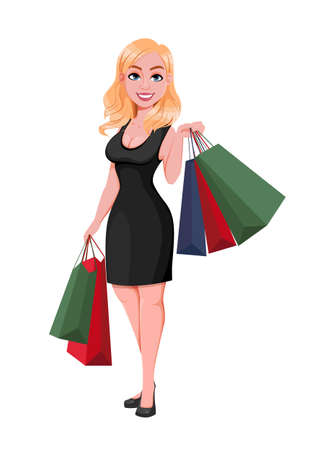 Black Friday sale concept. Beautiful woman cartoon character with shopping bags. Vector illustration on white background
