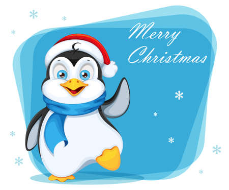 Merry Christmas greeting card with cute penguin. Funny penguin cartoon character. Vector illustration