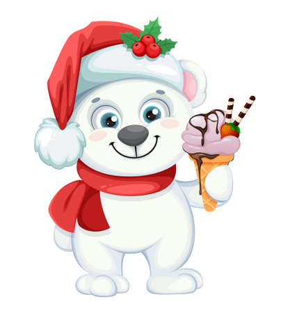 Cute polar bear cartoon character with ice-cream. Merry Christmas and Happy New Year. Vector illustration on white background