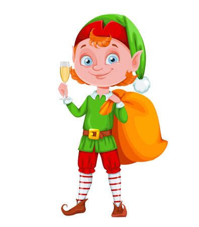 Cute Christmas elf cartoon character holding a glass of champagne. Merry Christmas and Happy New Year. Vector illustration on white background Ilustración de vector