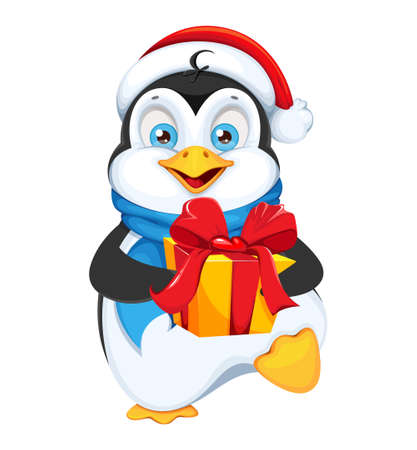 Cute penguin holding gift box. Merry Christmas and Happy New Year. Funny penguin cartoon character. Vector illustration on white background. Vecteurs