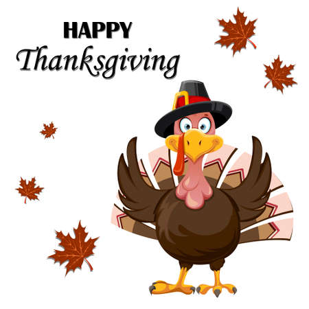 Happy Thanksgiving Day greeting card. Funny cartoon character Thanksgiving Turkey bird. Vector illustration with maple leaves on background