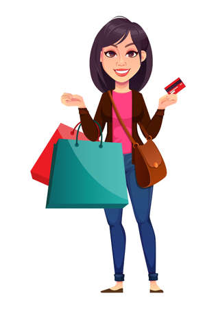 Business woman holding shopping bags. Beautiful businesswoman cartoon character. Vector illustration on white background