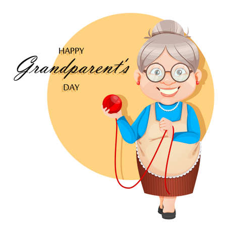 Happy Grandparents Day greeting card. Grandma cartoon character holding a ball of wool. 8 March. Old cute woman. Vector illustration. Illusztráció