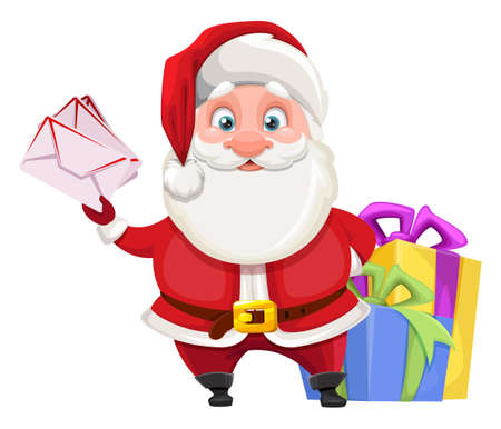 Merry Christmas and Happy New Year. Cheerful Santa Claus preparing presents for kids. Vector illustration on white background