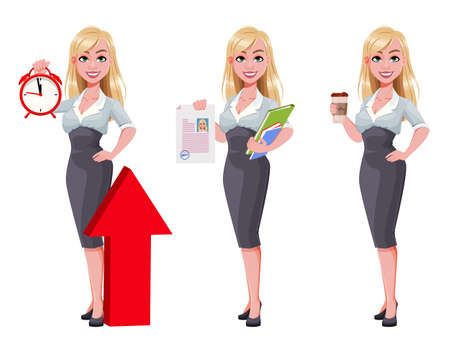 Business woman, set of three poses. Beautiful businesswoman cartoon character holding alarm clock, holding documents and holding coffee. Vector illustration