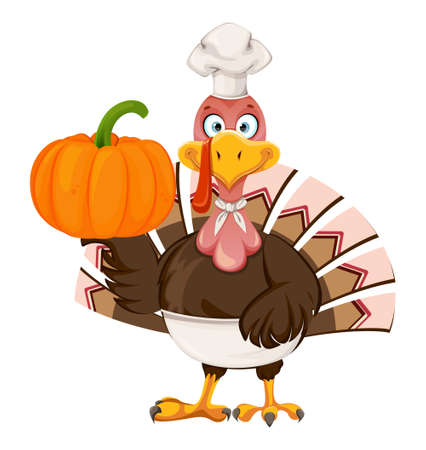 Happy Thanksgiving Day. Funny cartoon character Thanksgiving Turkey bird chef holding pumpkin. Vector illustration isolated on white background