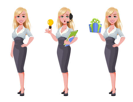 Business woman, set of three poses. Beautiful businesswoman cartoon character. Vector illustration