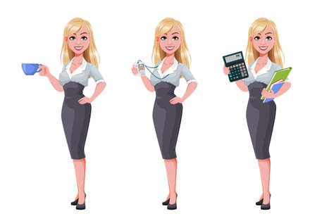 Business woman, set of three poses. Beautiful businesswoman cartoon character holding coffee, holding badge and holding calculator. Vector illustration Illusztráció