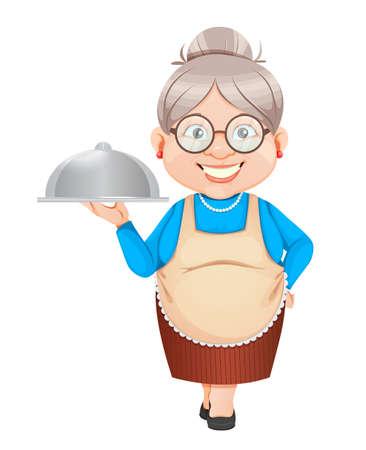 Grandma cartoon character holding restaurant cloche. 8 March, Happy Grandparents Day. Old cute woman. Vector illustration. Illusztráció