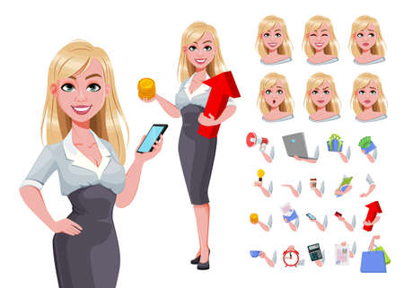 Business woman, pack of body parts, emotions and things. Beautiful business woman cartoon character. Vector illustration Illusztráció