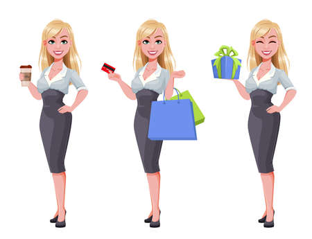 Business woman, set of three poses. Beautiful businesswoman cartoon character holding coffee, holding shopping bags and holding gift box. Vector illustration Illusztráció