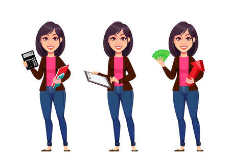 Business woman, set of three poses. Beautiful businesswoman cartoon character. Vector illustration on white background