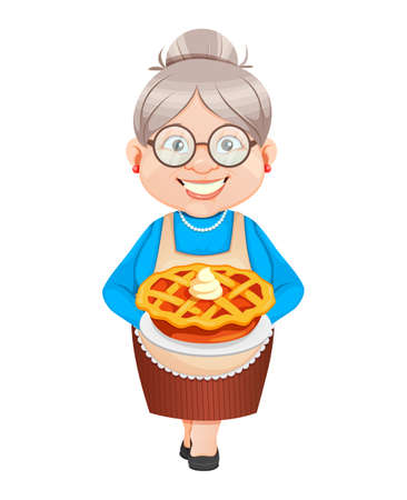 Grandma cartoon character holding sweet pumpkin pie. Happy Thanksgiving day, 8 March, Happy Grandparents Day. Old cute woman. Vector illustration. Illusztráció