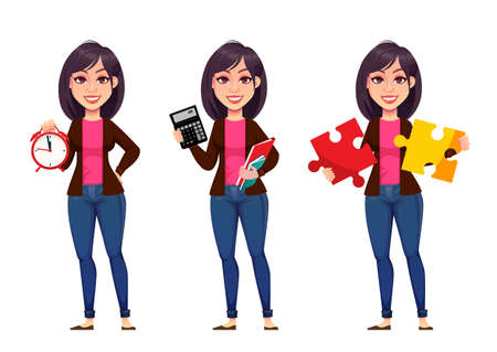 Business woman, set of three poses. Beautiful business woman cartoon character holding alarm clock, holding calculator and holding puzzle. Vector illustration Illusztráció
