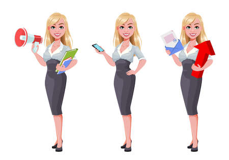 Business woman, set of three poses. Beautiful businesswoman cartoon character holding loudspeaker, holding smartphone and holding envelope. Vector illustration