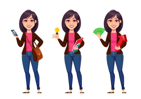 Business woman, set of three poses. Beautiful businesswoman cartoon character holding smartphone, having a good idea and holding money. Vector illustration