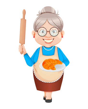 Grandma cartoon character holding plate with tasty croissants. 8 March, Happy Grandparents Day. Old cute woman. Vector illustration.